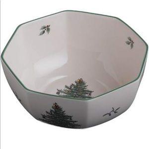 """Spode Christmas Tree 7"""" Octagonal Bowl NIB"""